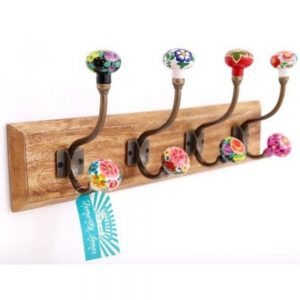 Mexican Floral Set of 4 Hooks On Wooden Base