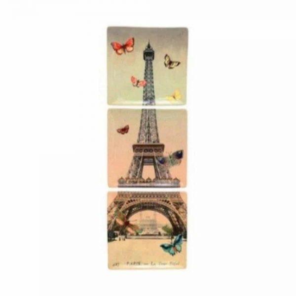 Eiffel Tower 3 Plate Hanging Set