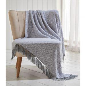 Ascot Grey 100% Cotton Throw 130x170cm