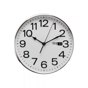 Silver Wall Clock With Day & Date