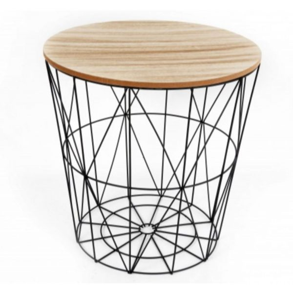 Black With Wooden Top - Side Table - Small H:40cm