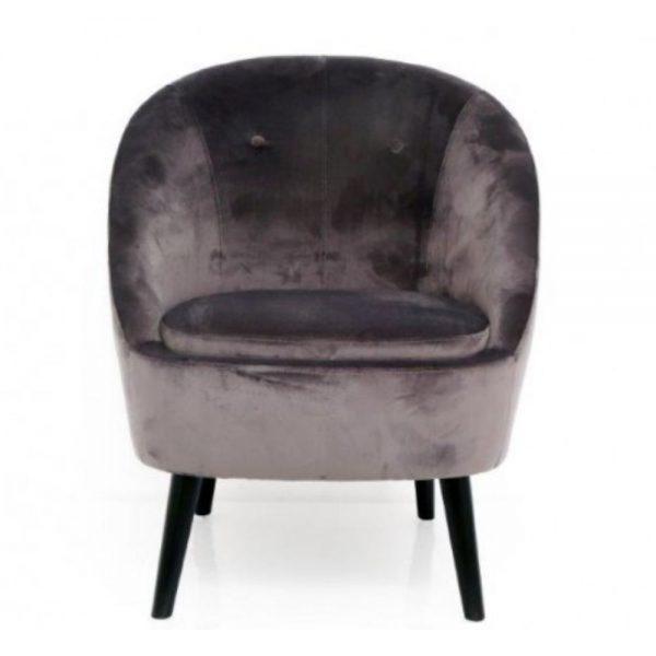 Grey Velvet Lounge Chair 77x82cm