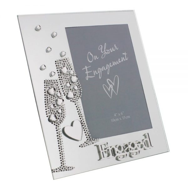 Mirror Frame Flute/Crystal Heart Engaged 4x6