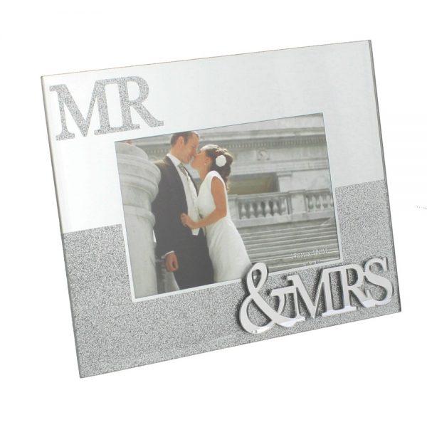 Mirror Glass & Glitter Photo Frame - Mr & Mrs 6x4