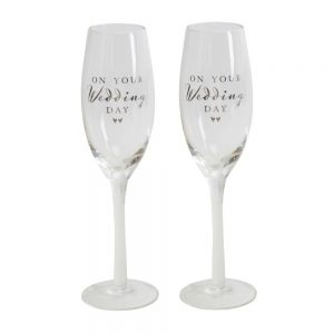 Amore Champagne Flute Set On Your Wedding Day