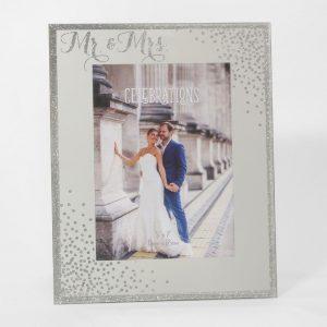 Celebrations Glass Sparkle Frame Mr & Mrs 5x7in