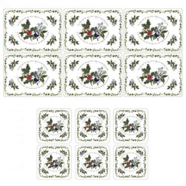 Pimpernel Holly & Ivy Six Placemats & Coasters