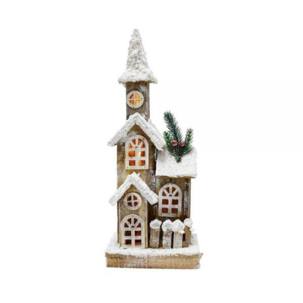 LED Snowy Wooden House 40cm