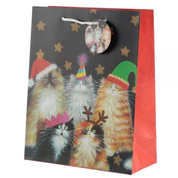 Kim Haskins Christmas Cats Gift Bag Large