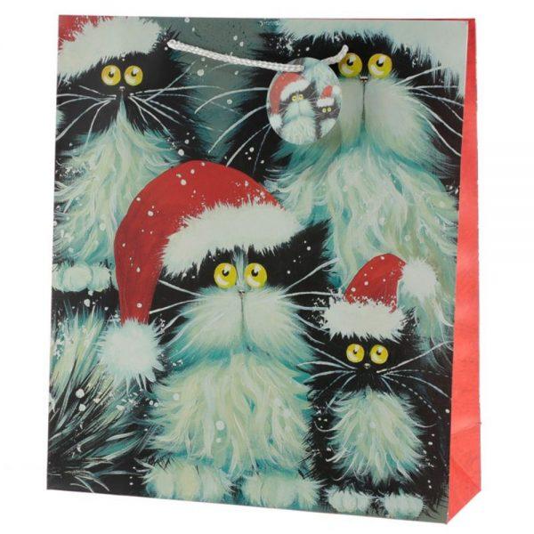 Kim Haskins Christmas Cats Gift Bag Extra Large