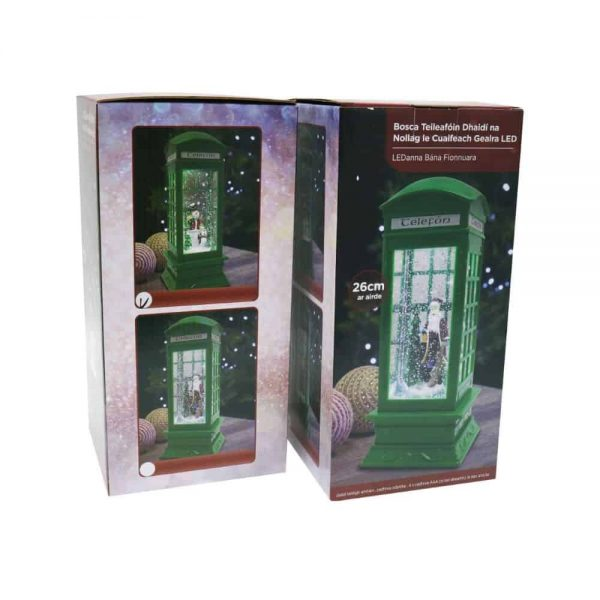 Led Swirling Glitter Irish Telephone Box H26cm