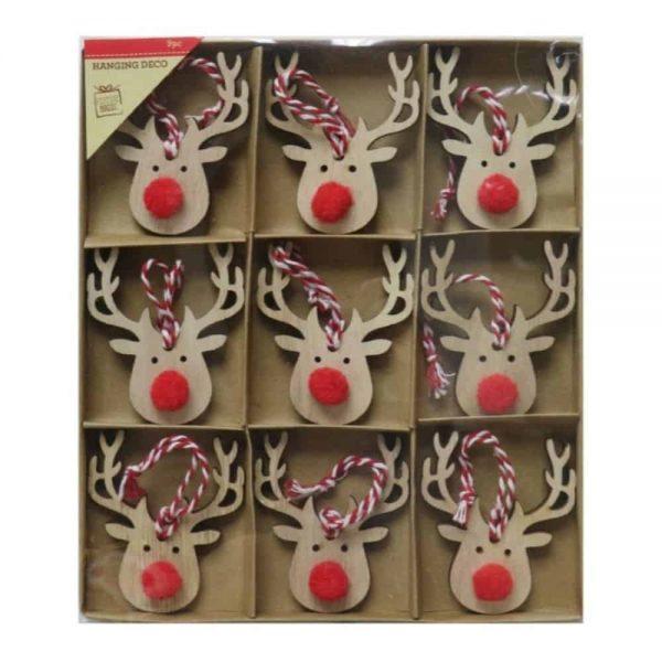 Reindeer Decorations With Pom Pom 9 Piece