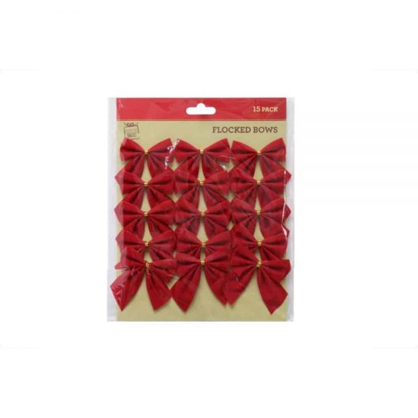 Red Flocked Mini Bows 15pc