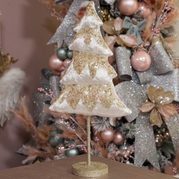 White and Gold Free Standing Christmas Tree 40cm