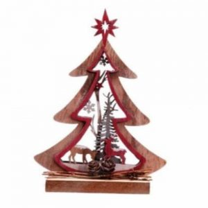 Wooden Cutout Tree Deco 20cm