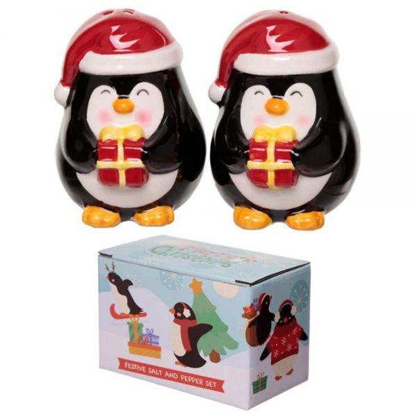 Christmas Penguin Ceramic Salt and Pepper Set