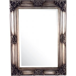 Large Swept Mirror Antique Silver