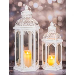 Lantern Set of 2 Antique White Lg H60cm Sm H42cm