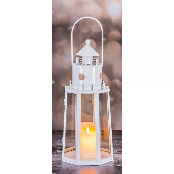 Light House Lantern Gloss White H38cm D16cm