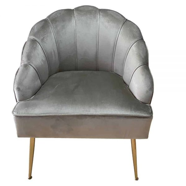 Grange Shell Chair Taupe with Gold Legs