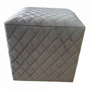 Grange Cubic Stool Quilted Velvet - Taupe 40x40cm