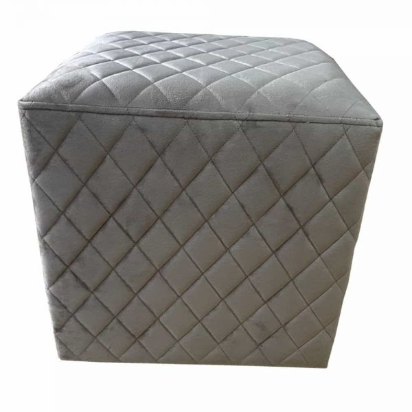 Grange Cubic Stool Quilted Velvet - Taupe 40x40cm