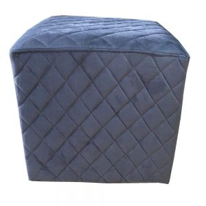 Grange Cubic Stool Quilted Velvet Charcoal 40x40cm