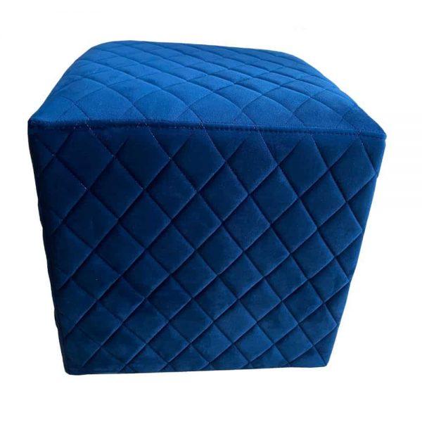 Grange Cubic Stool Quilted Velvet Blue 40x40cm