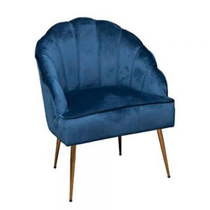 Shell Arm Chair Blue With Gold Legs