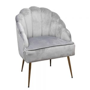Clam Chair Light Grey with Gold Legs 63x60x89cm