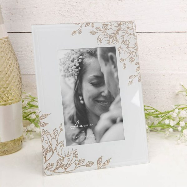 Amore Pale Grey Glass Gold Floral Frame 4x6in
