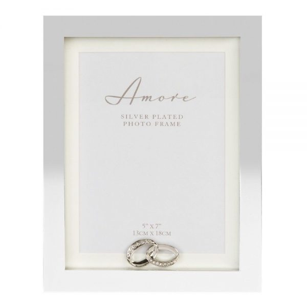 Silverplated Cube Frame with Crystal Rings 5x7in