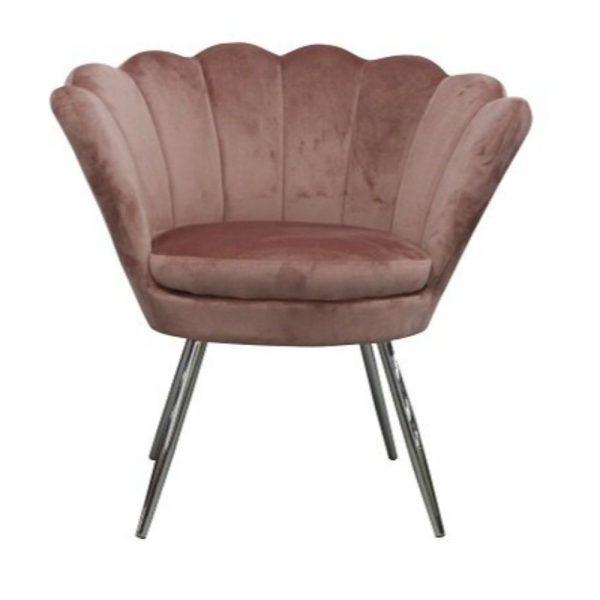 Shell Velvet Chair Blush Pink