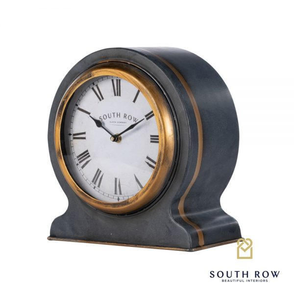 South Row Mantle Clock Black & Gold