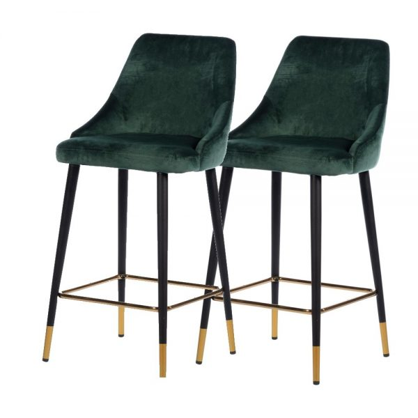 Monaco Button Back Island Stool Emerald