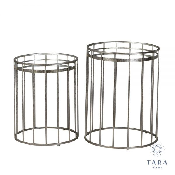 Set of 2 Cage Sofa Tables Round Silver