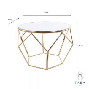 Geometric End Table Mirrored Top Gold Frame