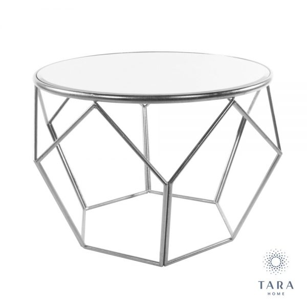 Geometric End Table Mirrored Top Silver Frame