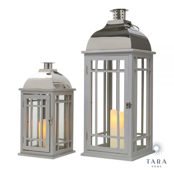 Julie Wooden Lanterns Grey and Chrome