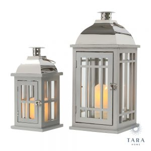 Set of 2 Julie Lanterns Grey and Chrome