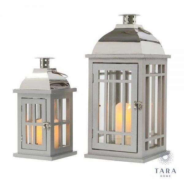 Set of 2 Julie Lanterns Grey and Chrome