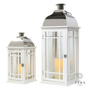 Set of 2 Julie Lantern White and Chrome
