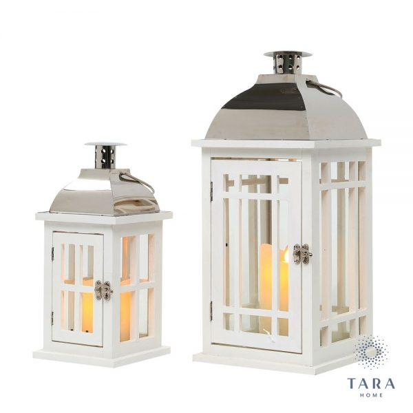Set of 2 Julie Wooden Lantern White and Chrome