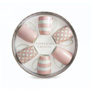 Spots and Stripes Pink China Mugs