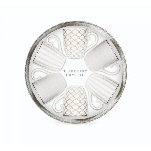 Tipperary Crystal Set of 6 Grey Stripe Mugs