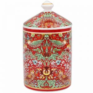 Strawberry Thief Red Candle Jar