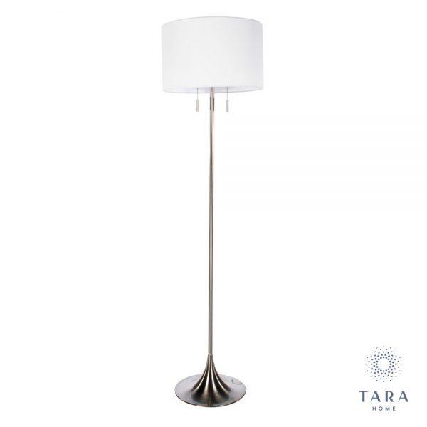 Zara Satin Silver Floor Lamp