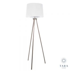 Ellie Satin Silver Tripod Floor Lamp