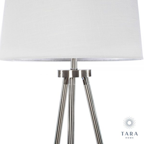 Ellie Satin Silver Tripod Floor Lamp