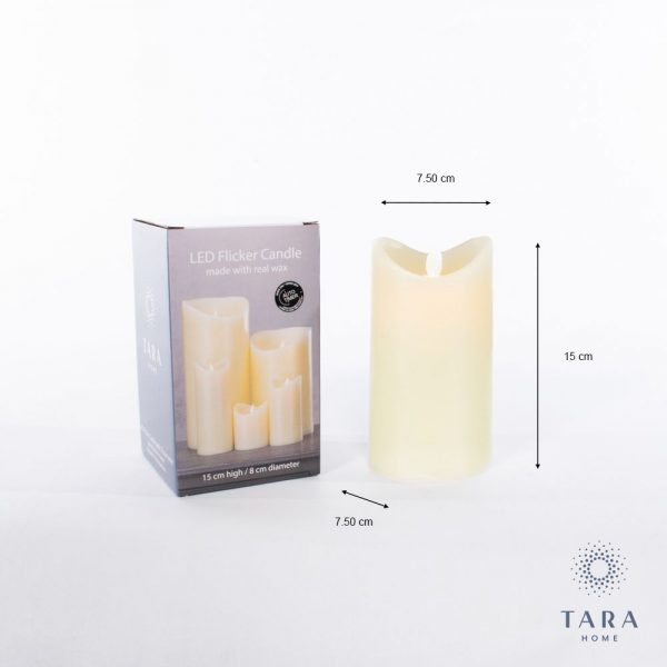 Flicker Led Candle With 5 Hour Timer Ivory